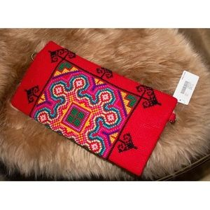 Women's NEW Red Folk Embroidered Clutch Purse Bag